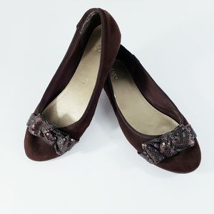 Sequin Bows Brown Flats Size 8M #S82